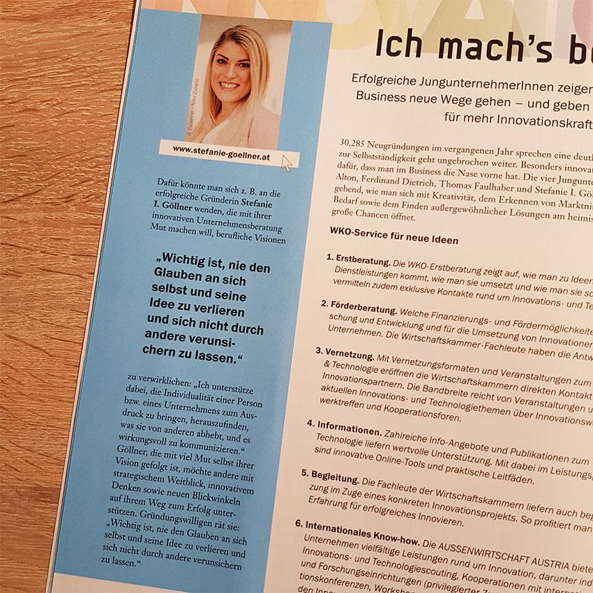 Stefanie Göllner Salzburg Artikel in der Jungen Wirtschaft