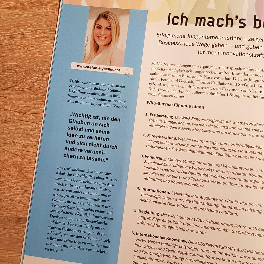 Stefanie Göllner Salzburg Expertin für Corporate Identity, Personal Branding - Beitrag in der Jungen Wirtschaft